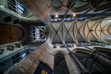 GHENT, BELGIUM - November, 2017: Church Architecture of Ghent city center. Ghent is medieval city and point of tourist destination in Belgium.