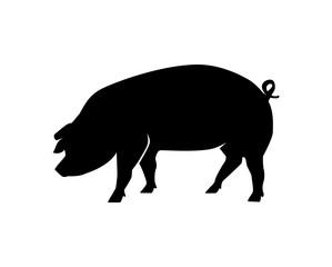Black Animal Pig Illustration Logo Silhouette
