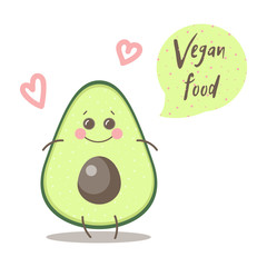 "Cute happy smiling avocado with words ""Vegan food'. Vector modern flat style cartoon character illustration. Isolated on white background. Eating healthy food, vegan food, vegetable concept design."