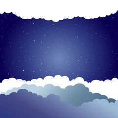 Night.  Night sky background with stars and clouds. Vector illustration.