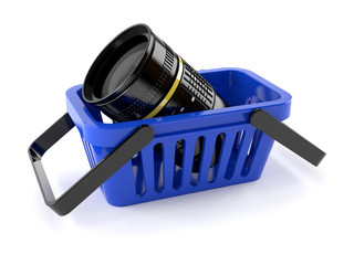 Shopping basket with camera lens
