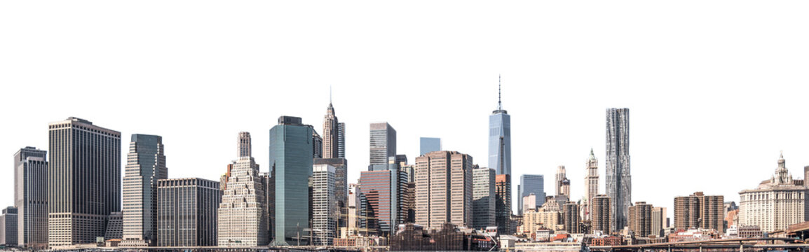 One World Trade Center and skyscraper, high-rise building in Lower Manhattan, New York City, isolated white background with clipping path