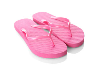 Bright female flip flops on white background