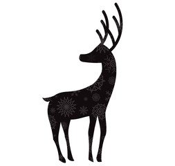 Black silhouette of reindeer with snow flakes pattern isolated