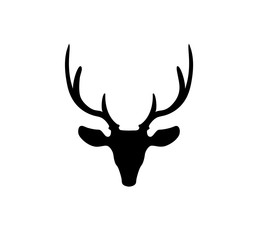 Black silhouette of reindeer head with big horns isolated