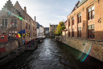 Brugge, Belgium - November, 2017. Brugge medieval historic city. Brugge streets and historic center. canals and buildings. Brugge popular touristic destination of Belgium.