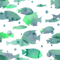Watercolor illustration. Pattern from transparent silhouettes of fish of cold green shades.