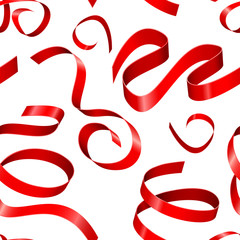 Red shiny colored ribbons. Seamless pattern