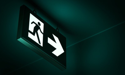Emergency exit sign in corridor point way out of building - 3d render