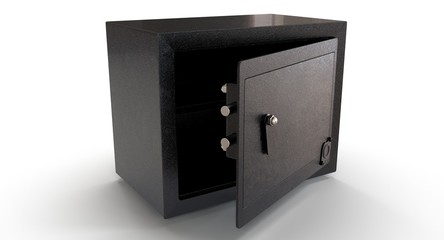 3D rendering - black security safe isolated on a white background.