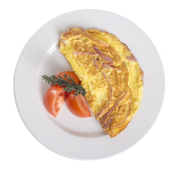 Omelet with ham and tomatoes.