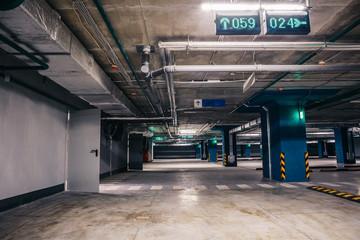 Underground garage or modern car parking, toned