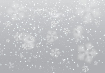 Vector heavy snowfall, snowflakes in different shapes and forms. Many white cold flake elements, swirls on transparent background. White snowflakes flying in the air.