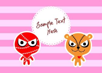 cute monster message card vector