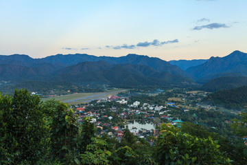 Mae Hong Son city in north of Thailand from high angle view point.