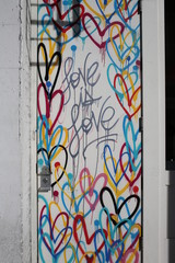 "Multiple Color Rainbow Heart Graffiti in Little Italy New York City ""Love is Love"""