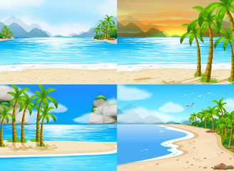 Four scenes of ocean at day time