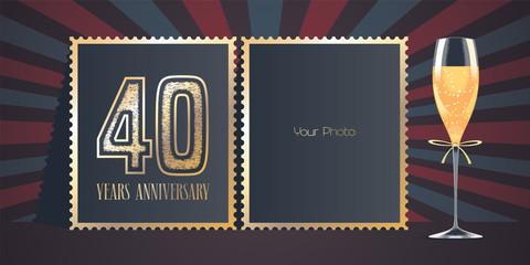 40 years anniversary vector icon, logo