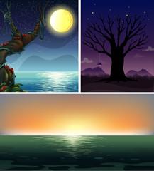 Three night scenes of the ocean