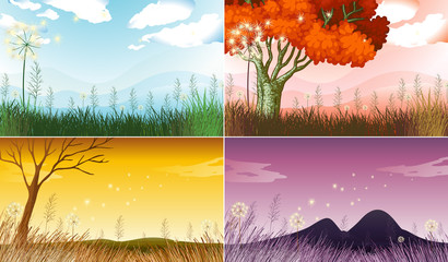 Four background scenes with different seasons