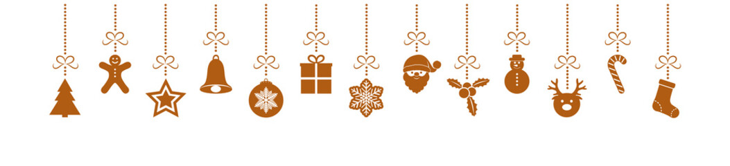 Beautiful Christmas elements - banner with hanging decorations. Vector.