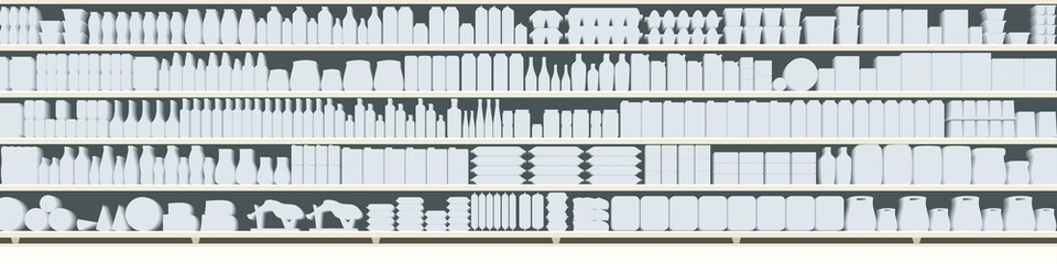 full shelves of meals silhouette