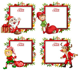 Four border template with santa and elf