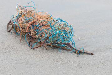 Strandgut Angespültes Fischernetz mit Algen und Seetang