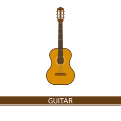 Vector illustration of acoustic guitar isolated on white background. Musical instrument in flat style.