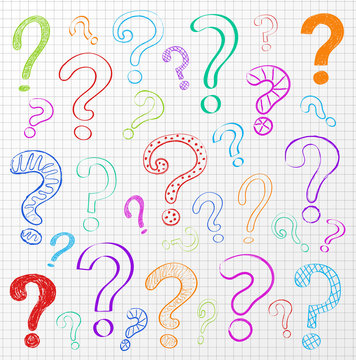 Collection of colourful hand drawn question marks on checked paper. Vector.