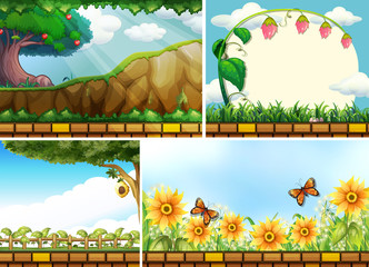 Four background scenes of parks