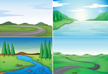 Poster Turquoise Four nature scenes with rivers and roads