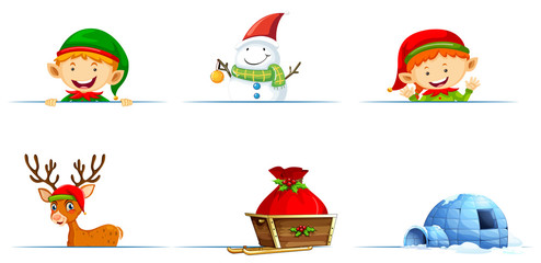 Christmas characters and sledge on white background