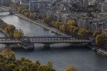 Overhead view of Pont de Bir-Hakeim with train crossing