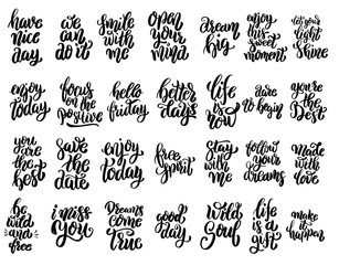 Set of hand written lettering motivational quotes, inspirational typography slogans. Design elements for poster, card, banner. Vector elements
