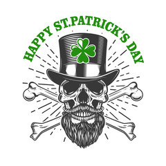 Happy saint patrick day. Irish Leprechaun skull with clover. Design element for poster, t-shirt, emblem, sign. Vector illustration