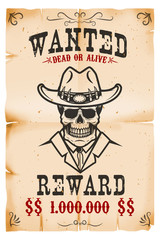 Vintage wanted poster template with old paper texture background. Cowboy skull. Wild west theme. Vector illustration