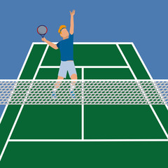 man in the tennis court play with racket