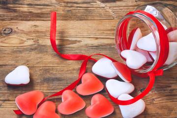 Marmalade candy shape heart in jar
