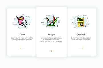 Onboarding screens design in data and content concept. Modern and simplified vector illustration, Template for mobile apps.