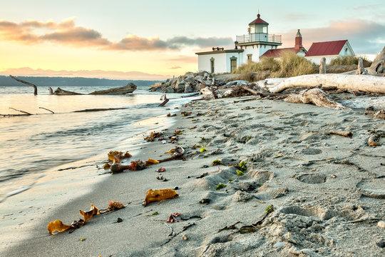 Sun set at West Point Lighthouse at Seattle Washington