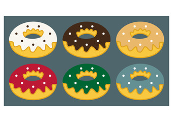 set of flat donuts, donuts icon and elements for bakery and confectionery design/ Xmas color