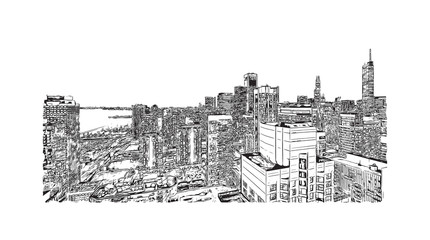 Hand drawn sketch of Chicago skyline, big city, architecture, engraving in vector illustration.