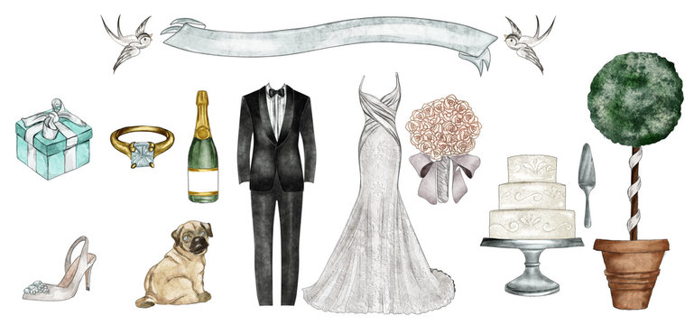 Watercolor Fashion Illustration - Wedding outfit set