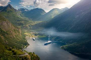 Cruise ships in waters of fiord, Norway, Europe
