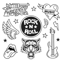 Rock and roll icons collection. Vector illustration of rock music badges and symbols, such as gun and rose, heart with the ribbon, tiger face, guitar, open mouth and wings. Isolated on white.