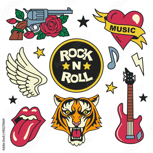 Rock And Roll Patches Collection Vector Illustration Of Rock Music
