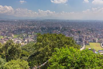 View from Swayambhunath stupa on Kathmandu, capital city of Nepal.