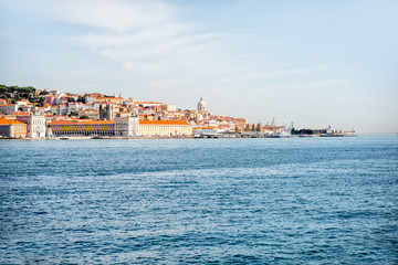 View from the river on the Lisbon old town during the morning light in Portugal