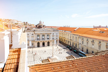 Top view on the Municipality square with town hall in Lisbon city during the sunny day in Portugal